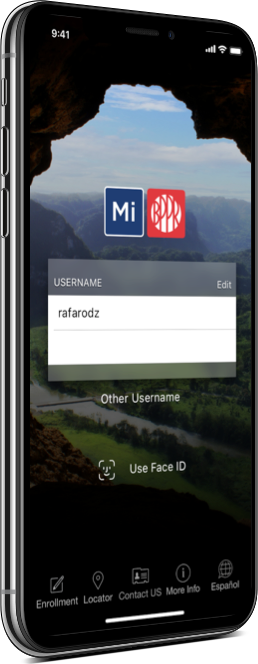 Mobile phone showing the app's login screen